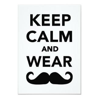 Mantenga bigote tranquilo y del desgaste invitación 8,9 x 12,7 cm