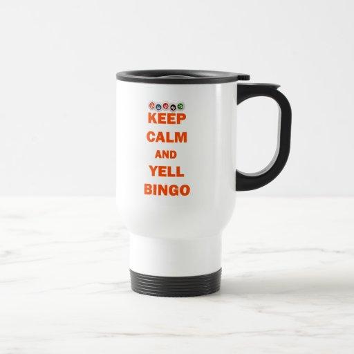 Mantenga bingo tranquilo y del grito taza de café