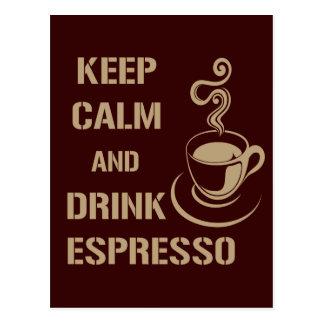 Mantenga café express tranquilo y de la bebida postal