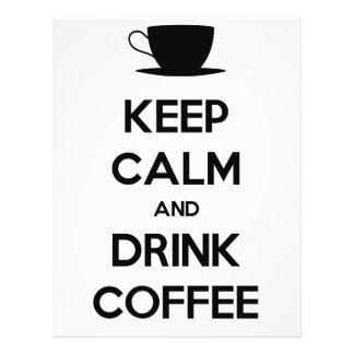 "Mantenga café tranquilo y de la bebida folleto 8.5"" x 11"""