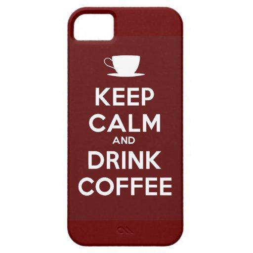 Mantenga café tranquilo y de la bebida iPhone 5 Case-Mate cárcasa