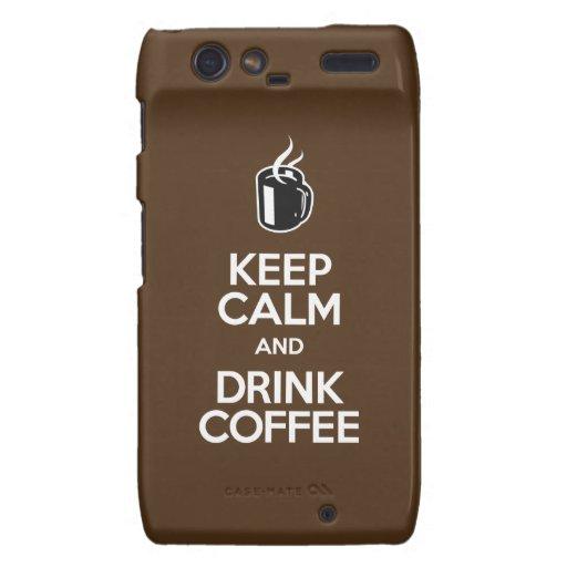 Mantenga café tranquilo y de la bebida motorola droid RAZR carcasa