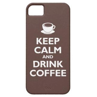Mantenga café tranquilo y de la bebida (la moca) funda para iPhone 5 barely there