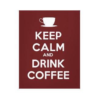 Mantenga café tranquilo y de la bebida lona estirada galerías