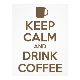 Mantenga café tranquilo y de la bebida membrete personalizado
