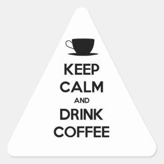 Mantenga café tranquilo y de la bebida pegatina triangular