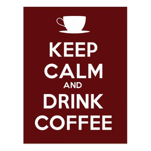 Mantenga café tranquilo y de la bebida postal