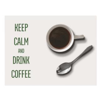 Mantenga café tranquilo y de la bebida postales