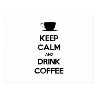 Mantenga café tranquilo y de la bebida tarjeta postal