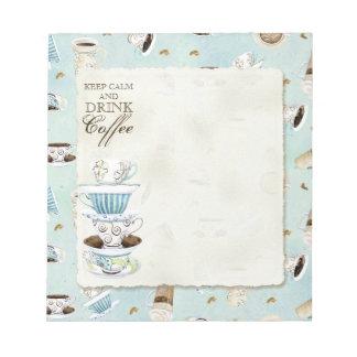 Mantenga café tranquilo y de la bebida - tazas de  bloc de papel