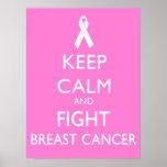 Mantenga cáncer tranquilo y de la lucha de pecho poster