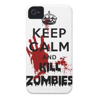 Mantenga caso divertido tranquilo y de la matanza iPhone 4 Case-Mate protectores