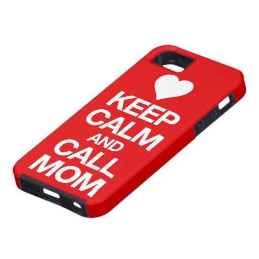 Mantenga caso tranquilo y de la llamada de la mamá iPhone 5 protector