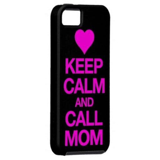 Mantenga caso tranquilo y de la llamada de la mamá iPhone 5 carcasa