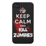 Mantenga caso tranquilo y de la matanza de los zom Case-Mate iPhone 4 funda