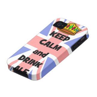 mantenga cerveza inglesa tranquila y de la bebida Case-Mate iPhone 4 fundas