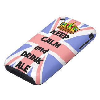 mantenga cerveza inglesa tranquila y de la bebida iPhone 3 tough carcasas