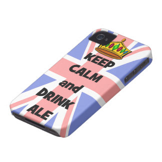 mantenga cerveza inglesa tranquila y de la bebida funda para iPhone 4 de Case-Mate