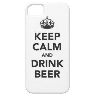Mantenga cerveza tranquila y de la bebida iPhone 5 carcasas