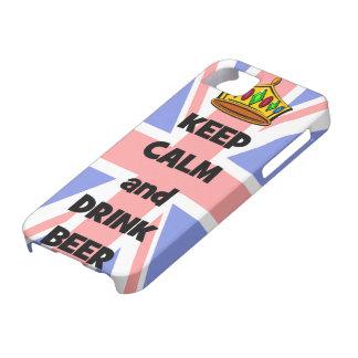 mantenga cerveza tranquila y de la bebida iPhone 5 protectores
