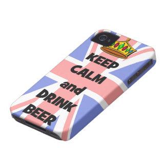 mantenga cerveza tranquila y de la bebida iPhone 4 Case-Mate protector