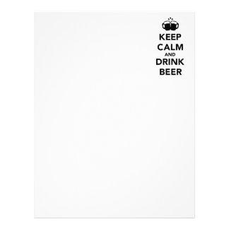 Mantenga cerveza tranquila y de la bebida plantilla de membrete