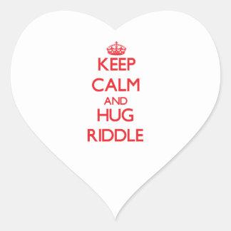 Mantenga criba tranquila y del abrazo calcomanía de corazón