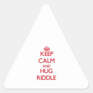 Mantenga criba tranquila y del abrazo calcomanías trianguloes
