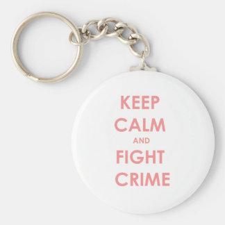 ¡Mantenga crimen tranquilo y de la lucha! Llavero Redondo Tipo Pin