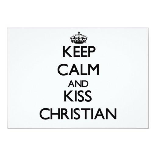 """Mantenga cristiano tranquilo y del beso invitación 5"""" x 7"""""""