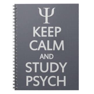 Mantenga cuaderno tranquilo y del estudio de Psych