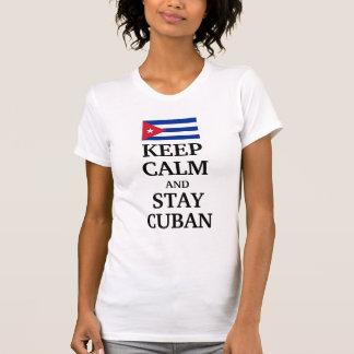 Mantenga cubano tranquilo y de la estancia remera