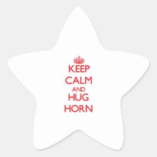 Mantenga cuerno tranquilo y del abrazo calcomanía forma de estrellae