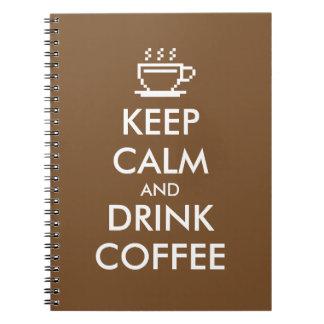 Mantenga diario tranquilo y de la bebida del café libreta espiral