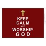 Mantenga dios tranquilo y de la adoración felicitaciones