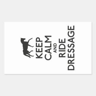 Mantenga dressage tranquilo y del paseo pegatina rectangular