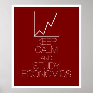 Mantenga economía tranquila y del estudio posters