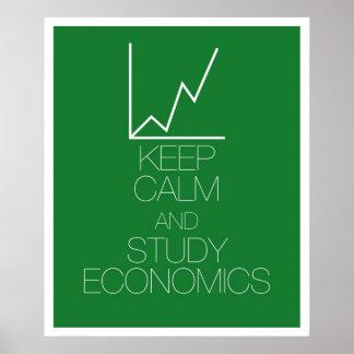 Mantenga economía tranquila y del estudio póster