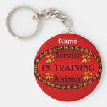 Mantenga el animal en rojo y negro de entrenamient llavero personalizado