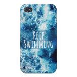Mantenga el nadar del océano de motivación iPhone 4 protectores