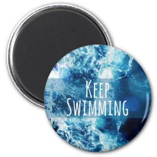 Mantenga el nadar del océano de motivación imán redondo 5 cm