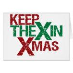 Mantenga el X Navidad Felicitación