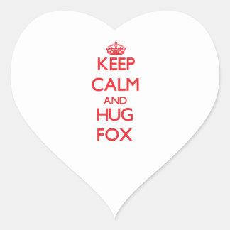 Mantenga Fox tranquilo y del abrazo Calcomania De Corazon
