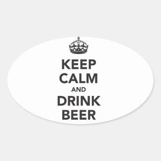 Mantenga frase tranquila y de la bebida de la pegatina ovalada