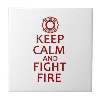 Mantenga fuego tranquilo y de la lucha azulejo cuadrado pequeño