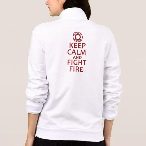 Mantenga fuego tranquilo y de la lucha chaquetas imprimidas