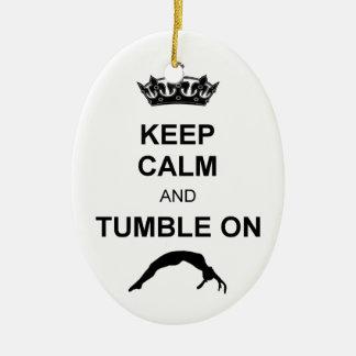 Mantenga gimnasta tranquilo y de la caída adorno navideño ovalado de cerámica
