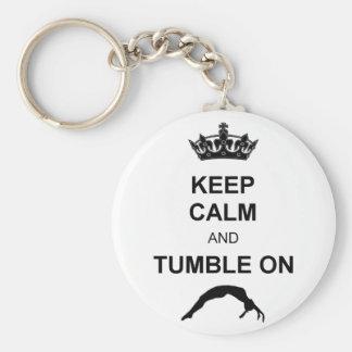 Mantenga gimnasta tranquilo y de la caída llavero redondo tipo pin