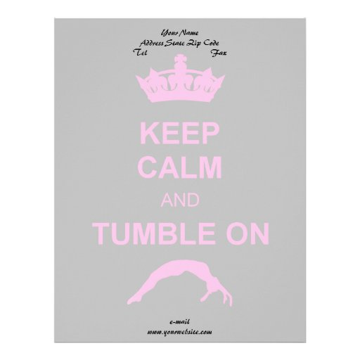 Mantenga gimnasta tranquilo y de la caída membrete personalizado
