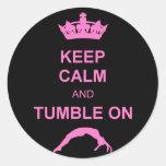 Mantenga gimnasta tranquilo y de la caída etiquetas redondas